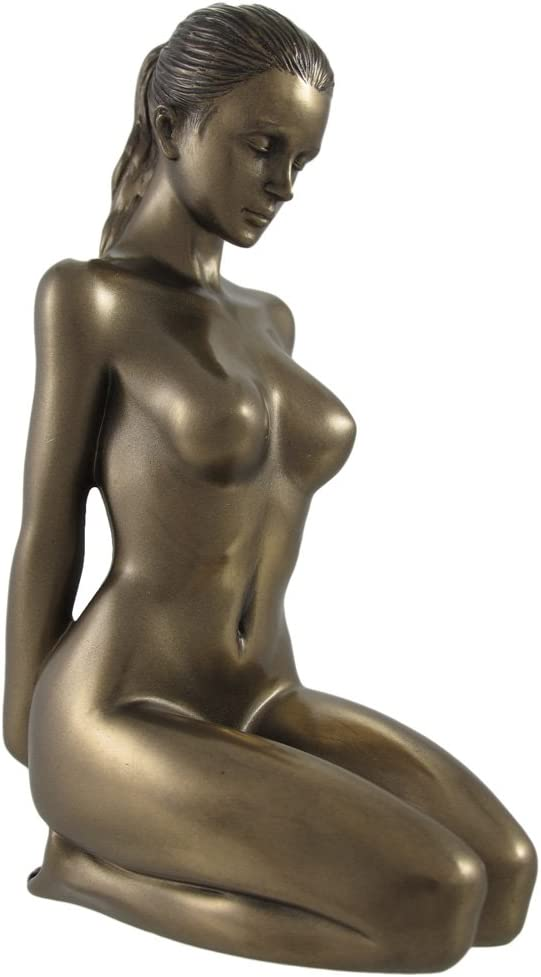 Bronzed Finish Nude Kneeling Female Statue Sculpture Erotic Art
