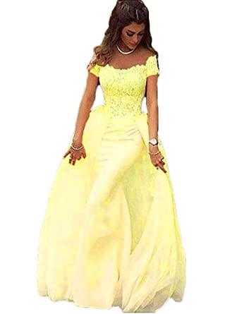 7651db0c5f alilith.Z Sexy Off Shoulder Lace Mermaid Prom Dresses 2018 Appliques Formal  Evening Gowns for Women with Detachable Train