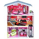 Kids House Casa de Muñecas de Madera con Muebles -Isabella- Casita de Juguete para Niñas