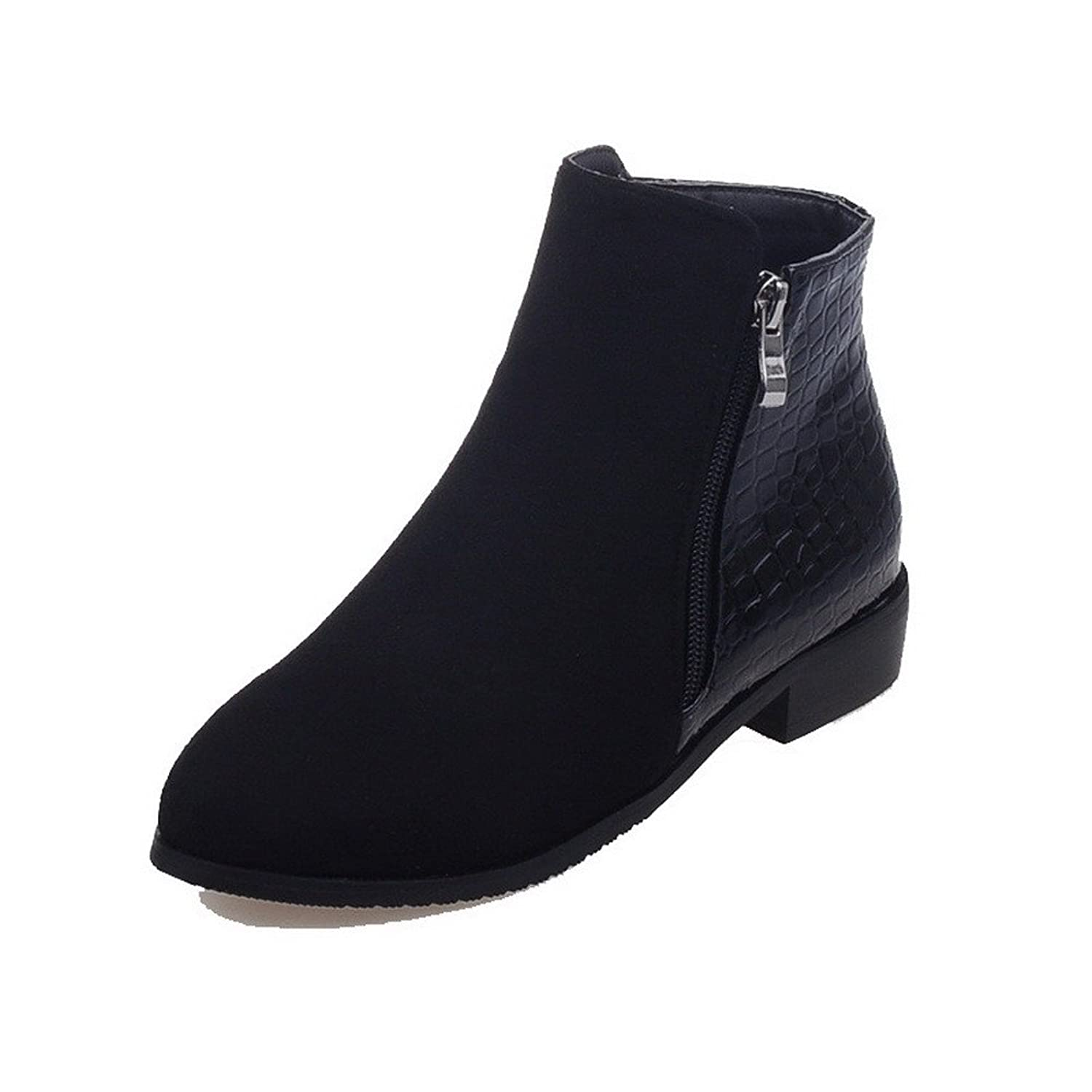 AmoonyFashion Women's Solid Low-Heels Round Closed Toe Blend Materials Zipper Boots