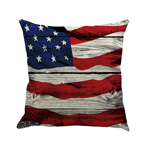 Amandaz Home Flag Pillow Case,Texas Flag Cotton Linen Cushion Cover Square Standard Exquisite Chain Embroidery Patriotic Decorations Decorative Throw Pillow Cushions for 18X18 Inch Blue Red
