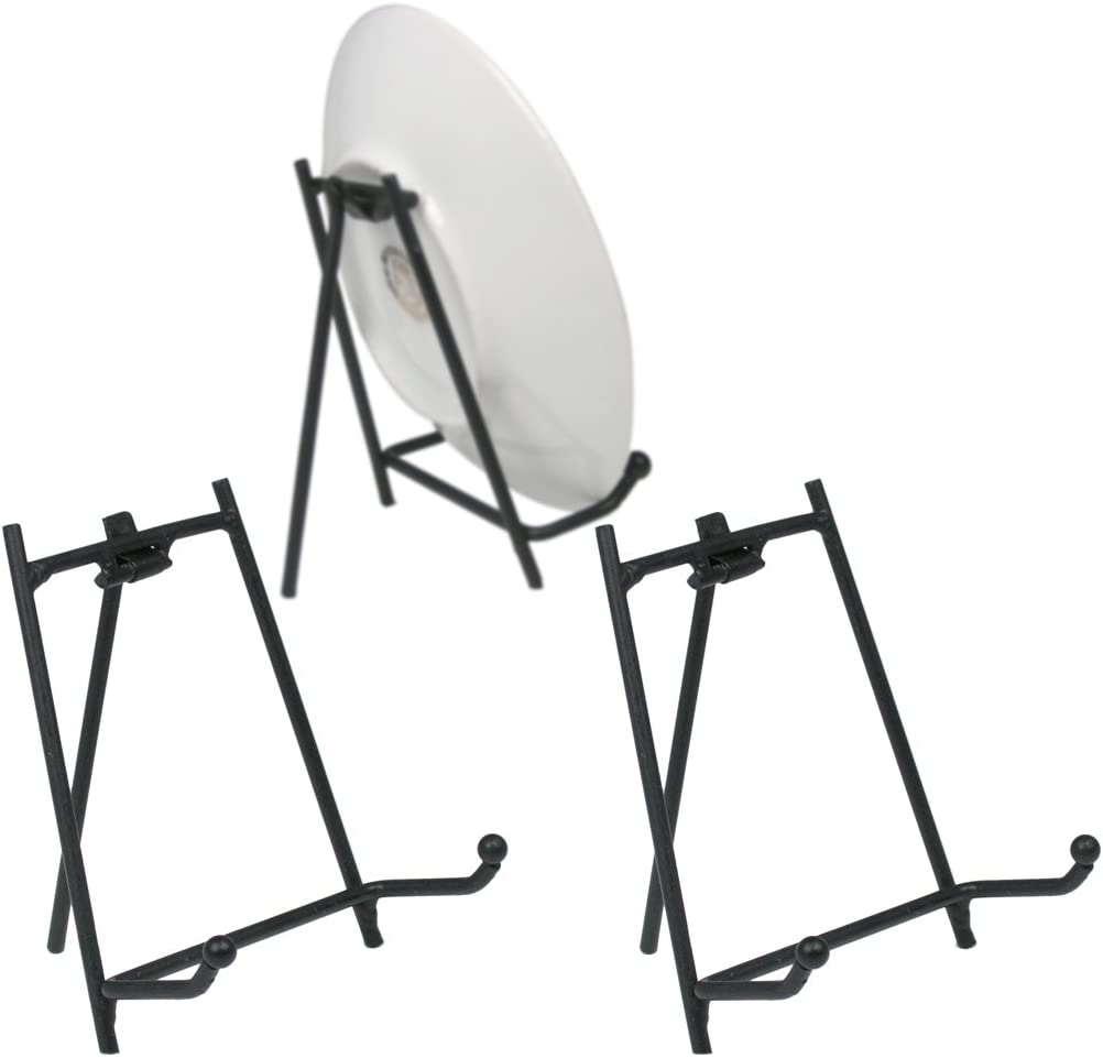 BANBERRY DESIGNS Black Display Stand - Set of 3 Metal Easels - Wrought Iron Plate Stand - Picture Stands - 3.5 Inch High