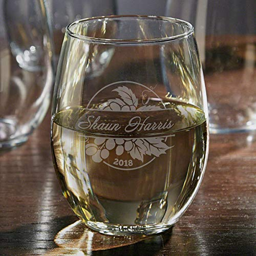Rhone Valley Etched Stemless Wine Glass (Personalized Product) ()