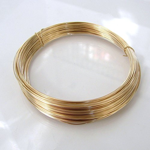 14k Gold Filled Round Half Hard Wire, Made in USA (18 gauge) - Filled Gold Gauge Round Wire