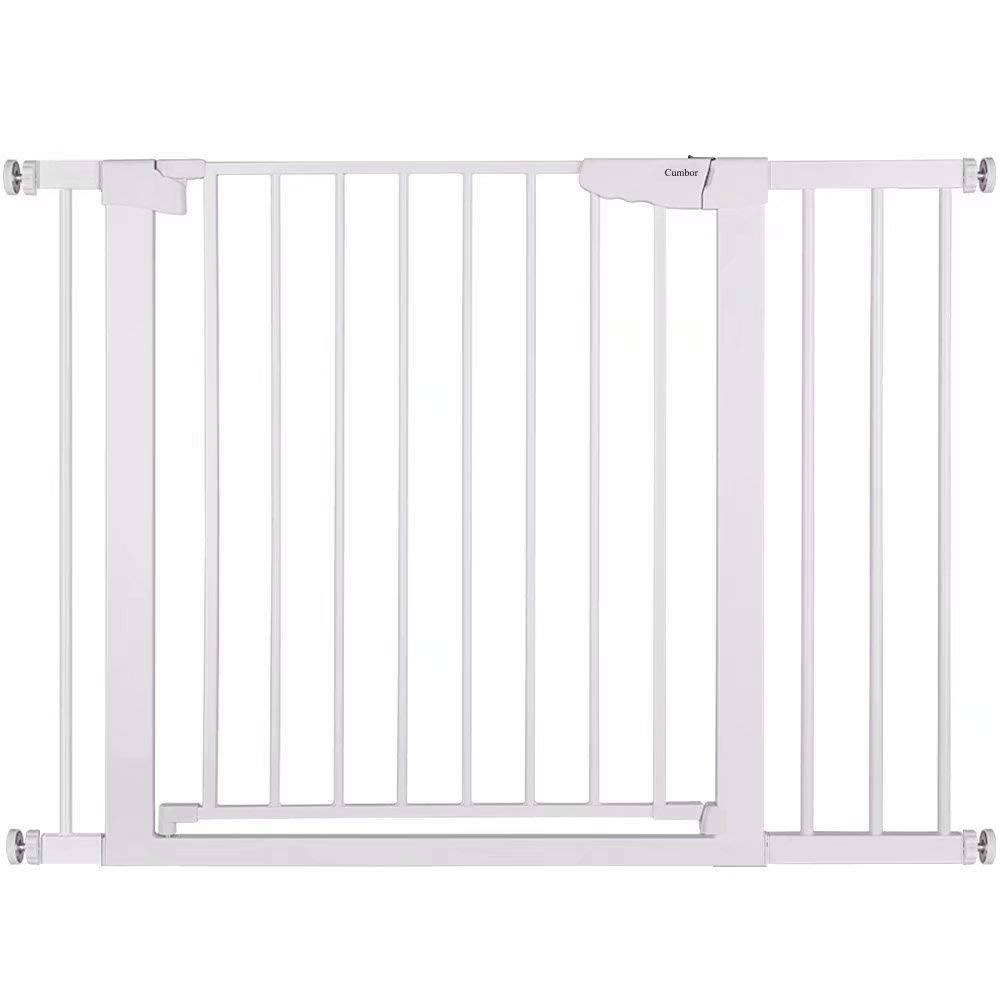Cumbor 43.3 Auto Close Safety Baby Gate, Extra Tall and Wide Child Gate, Easy Walk Thru Durability Dog Gate for The House, Stairs, Doorways. Includes 4 Wall Cups, 2.75-Inch and 8.25-Inch Extension