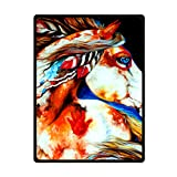JIUDUIDODO Home Bedding & Wonderful Keep Warm Gifts Beautiful Handsome Horse Blanket 58 Inches x 80 Inches Sofa/Bed Used Gift for Family/Friend