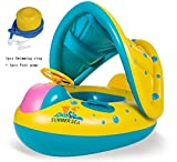 Baby Float Inflatable, Water Float Swimming Ring With Adjustable Sunshade Canopy Kids Swim Rubber Ring Float Inflatable Baby Swimming Float Pool Floats Boat Upgraded Floating Toy Baby Safety Seat Fun