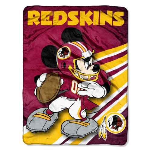 The Northwest Company Officially Licensed NFL Washington Redskins Mickey Mouse Ultra Plush Micro Super Soft Raschel Throw Blanket Washington Redskins Bed