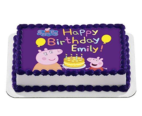 Peppa Pig Quarter Sheet Edible Photo Birthday Cake Topper Personalized 1 4