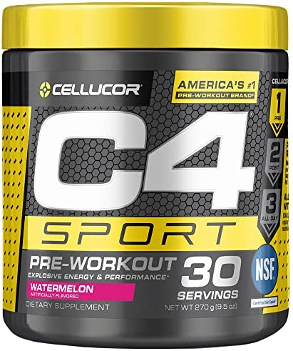 C4 Sport Pre Workout Powder Watermelon - NSF Certified for Sport + Preworkout Energy Supplement for Men & Women - 135mg Caffeine + Creatine Monohydrate - 30 Servings