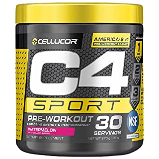C4 Sport Pre Workout Powder Watermelon   NSF Certified for Sport + Preworkout Energy Supplement for Men & Women   135mg Caffeine + Creatine Monohydrate   30 Servings