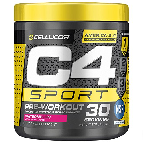 Cellucor C4 Sport Pre Workout Powder Sports Hydration & Energy Drink Supplement with Creatine monohydrate & beta Alanine, Watermelon, 30 Servings