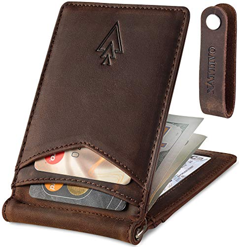 Men's Leather RFID Money Clip Slim Wallet with Leather Keychain (Coffee Brown, Crazy horse leather) ()