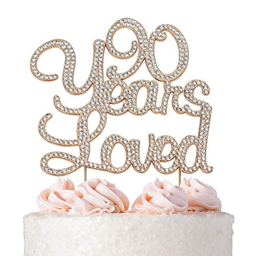90 Years Loved Rose Gold Cake Topper