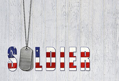Laeacco Military Dog Tag Photography Background 10x6.5ft Wooden Texture Weathered Background Chain Necklace American Wooden Symbol Signs Texture Star Red White Blue USA Flag Independence Day