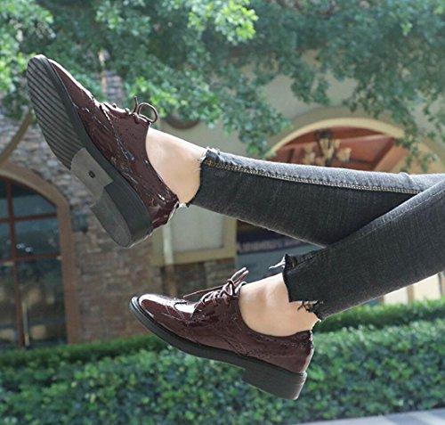 Freizeitschuhe Herbst Loafers Damenschuhe Geschnitzt Stil Britischen DANDANJIE wnPHxqYXY
