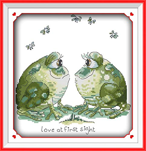CaptainCrafts Hots Cross Stitch Kits Patterns Embroidery Kit - Frog Lover (STAMPED) - House Cross Stitch Sampler
