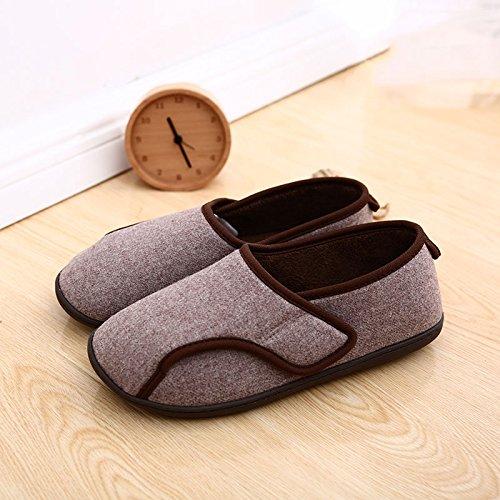 Fankou autunno inverno cotone spesso gli uomini e le donne di casa home il cotone pantofole caldi pavimenti per interni home pantofole impermeabili serie L (43-45), Rosa