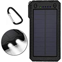 Solar Charger,Solar Power Bank 12000mAh External Backup Battery Pack Dual USB Solar Panel Charger with 2 LED Lights for Emergency Outdoor Camping Travel. (Yellow)