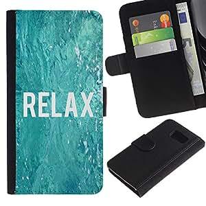 A-type (Relax Surfing Surfer Blue Water Ocean) Colorida Impresión Funda Cuero Monedero Caja Bolsa Cubierta Caja Piel Card Slots Para Samsung Galaxy S6