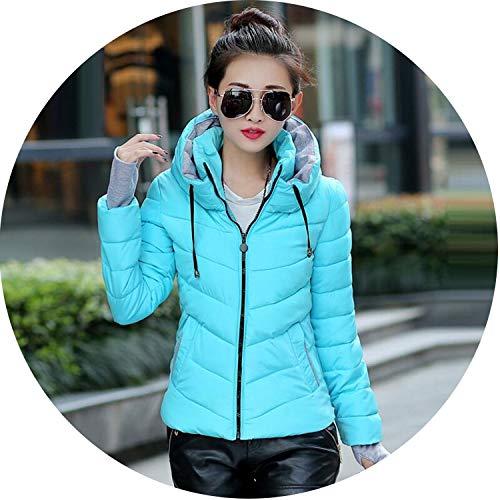 Women Coat Autunm Winter Jacket Lady Bomber Slim Cool Outerwear Winter Coat,Hooded Sky Blue,XXXL
