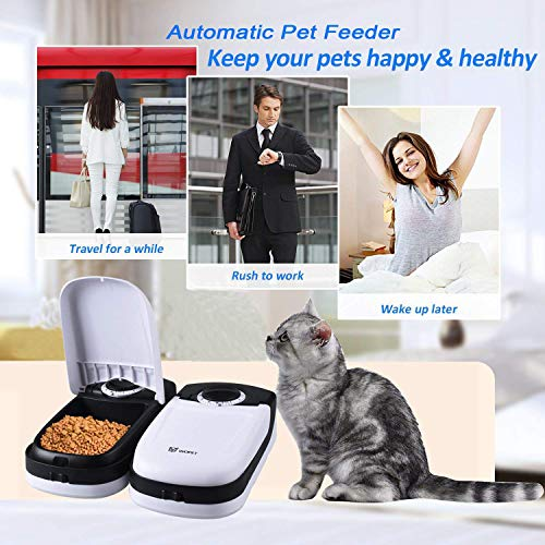 WOpet Automatic Cat Feeder, Pet Feeder for Dogs and Cats with Ice Pack Included - 2 Meals