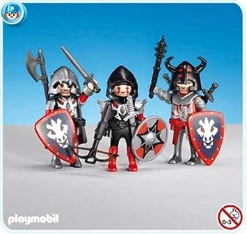 PLAYMOBIL 7975 - 3 Caballeros del Dragón Rojo: Amazon.es: Juguetes y juegos