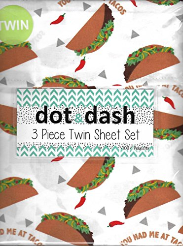 Dot & Dash 3 Piece Kids Twin Sheet Set Childrens (Tacos) by Dot Dash