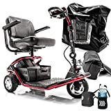 LiteRider 3-Wheel Folding Travel Mobility Scooter GL111 + Challenger Accessories Bundle + 3-Year Extended Warranty (RED)