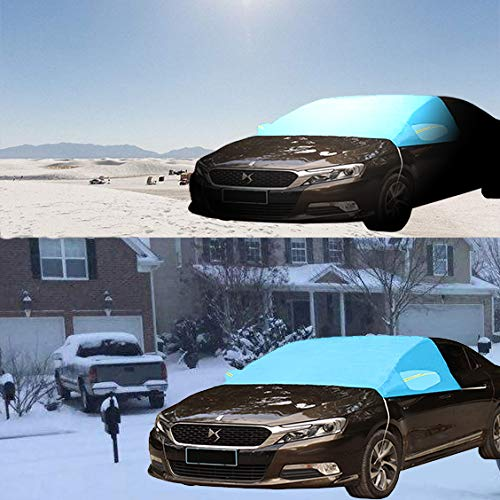 zosenda Windshield Snow Cover Car Ice Removal Wiper Visor Protector Frost Guard Auto Sun Shade UV Full Protection with Mirror Covers Thicker Cotton Lined PEVA Fabric Fits Most Cars WINDSHIELD-SNOW-COVERS