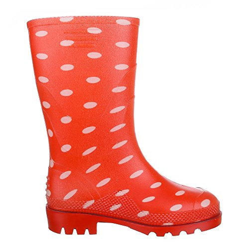 Ital-Design Kinder Schuhe, GST-K902, Stiefel Mädchen Jungen Gummi Regenstiefel Rot