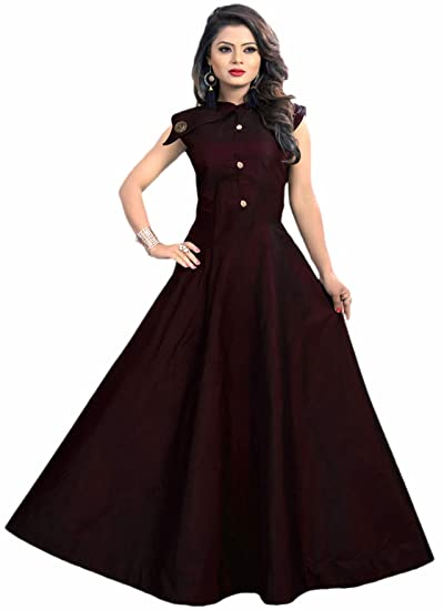 Buy Jsv Fashion Women S Tafeta Satin Anarkali Style Gown At Amazon In