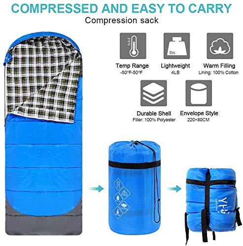 Ligero para ni/ños y Adultos Impermeable Saco de Dormir con cabecero para Camping Saco de Dormir Viajes y Actividades al Aire Libre Ejoyous Saco de Dormir