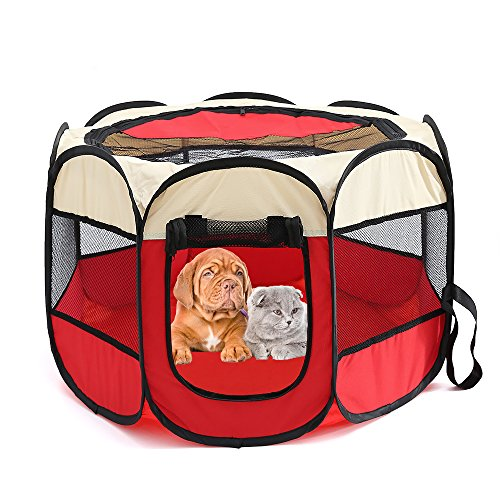 "Petoice 2-Door Foldable Portable Waterproof Pet Playpen Kennel Exercise Pens for Dogs Cats Rabbits Outdoor Indoor,Red,M(35.4""L x 35.4""W x 23.6""H)"