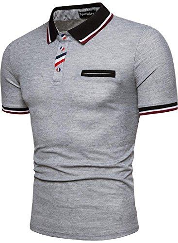 Sportides Men's Casual Short Sleeve Polo T_Shirt Tee Shirt Tops JZA400 LightGray S -