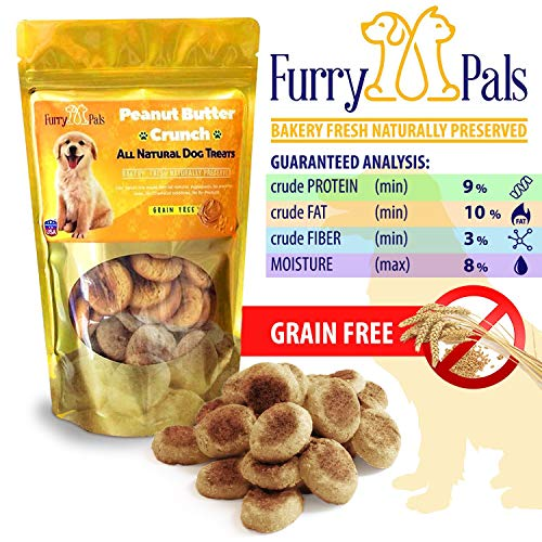Grain Free Dog Treats – Peanut Butter – All Natural – Manufactured in The USA – Gluten Free Dog Treats by Furry Pals (Pal Furry)