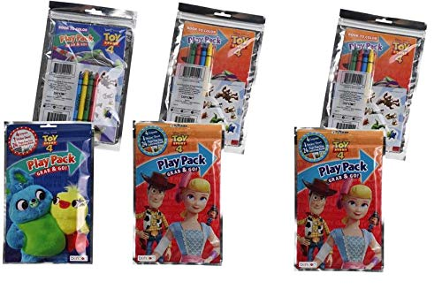 Play Pack Grab And Go (Toy Story 4 Crayon, Coloring Book & Sticker Sheet Grab n Go Play Pack Bulk- 6 Pack)