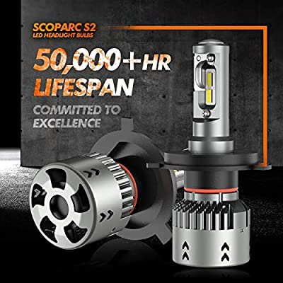 SEALIGHT Scoparc S2 H4/9003/HB2 LED Headlight Bulbs, 9003 LED High Beam Low Beam, 1:1 Halogen Bulb Design, 6000K Bright White: Automotive