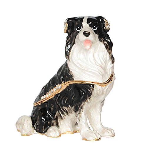 Minihouse Jeweled Trinket Box Hinged Keepsake Box Border Collie Dog Figurines (Dog Hinged Trinket Box)