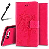 iPhone 6S Stand Case,iPhone 6 Wallet Case,iPhone 6S Flip Case,iPhone 6 PU Case Girl,SKYMARS Tree Cat Butterfly Embossed PU Leather Flip Kickstand Cards Slot Wallet Magnetic Closure Protection Book Style Case for iPhone 6 / 6S Tree