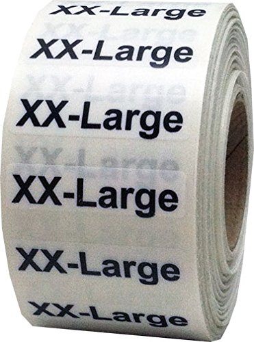 "1.25 x 5"" Apparel XX-Large Wrap Around Size Strip Labels for Folded Retail Clothing 