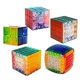 Qm-h Set of 5 Pieces 2x2x2 3x3x3 4x4x4 5x5x5 7x7x7 Stickerless Speed Magic Cube Puzzle Classical cubes Transprent
