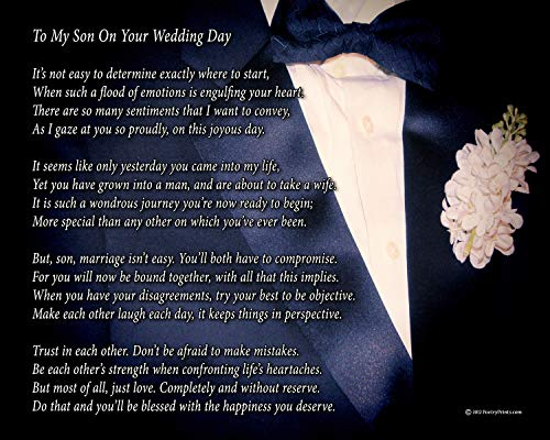 To My Son On Your Wedding Day - One Parent - Poem Print (8x10) - Beautiful Groom Wedding Gift from Mom or Dad