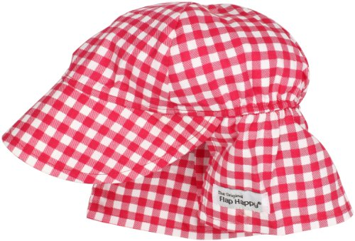 Flap Happy Unisex Baby UPF 50+ Original Hat, Red Gingham, ()
