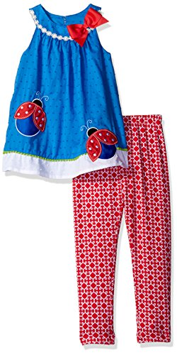 Rare Editions Girls Little Ladybug Applique Legging Set