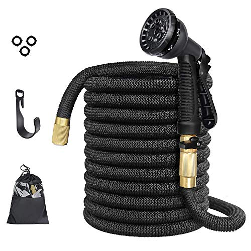 Anteko Expandable Garden Hose, 50ft Strongest Expandable Water Hose, 8 Functions Sprayer with Double Latex Core, 3/4″ Solid Brass Fittings, Extra Strength Fabric – Improved Expanding Hose