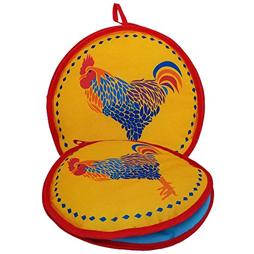 10-inch Yellow Rooster Insulated Tortilla Warmer-Microwave Fabric ()