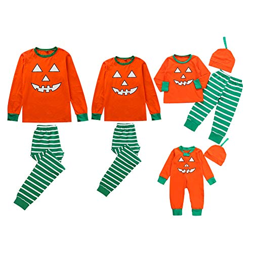 Chinatera Family Matching Halloween Pajamas Long Sleeve Pumpkin Tops Striped Pants Hat Baby Rompers Sleepwear Nightwear