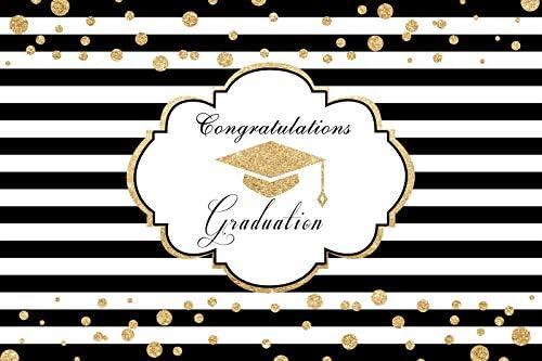 Laeacco Congratulation Graduation Backdrop 10x7ft Black and White Stripes Vinyl Photography Background Golden Trencher Cap Glitter Dots Senior Student Party Banner Photo Prop Studio Poster