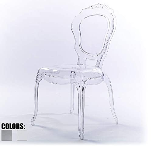 2xhome – Plastic Chair No Arm Side Chair With Back Clear Legs Dining Chair